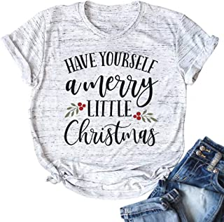 JELLYKIDS Have Yourself a Merry Little Christmas Shirt Women Short Sleeve Raglan Xmas T Shirt Graphic Top