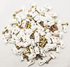 1000 Pcs Single Coaxial Cable Clips, Cat6, Electrical Wire Cable Clip, 1/4 in (6 mm) Screw Clip Fastener, White (100 Pieces per Bag)