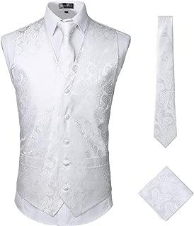 Mens Classic 3pc Jacquard Paisley Vest Set Necktie Pocket Square Waistcoat for Suit or Tuxedo
