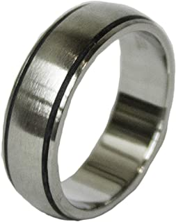 Men's Stainless Steel Dress Ring Black Enamel Channel Band 067