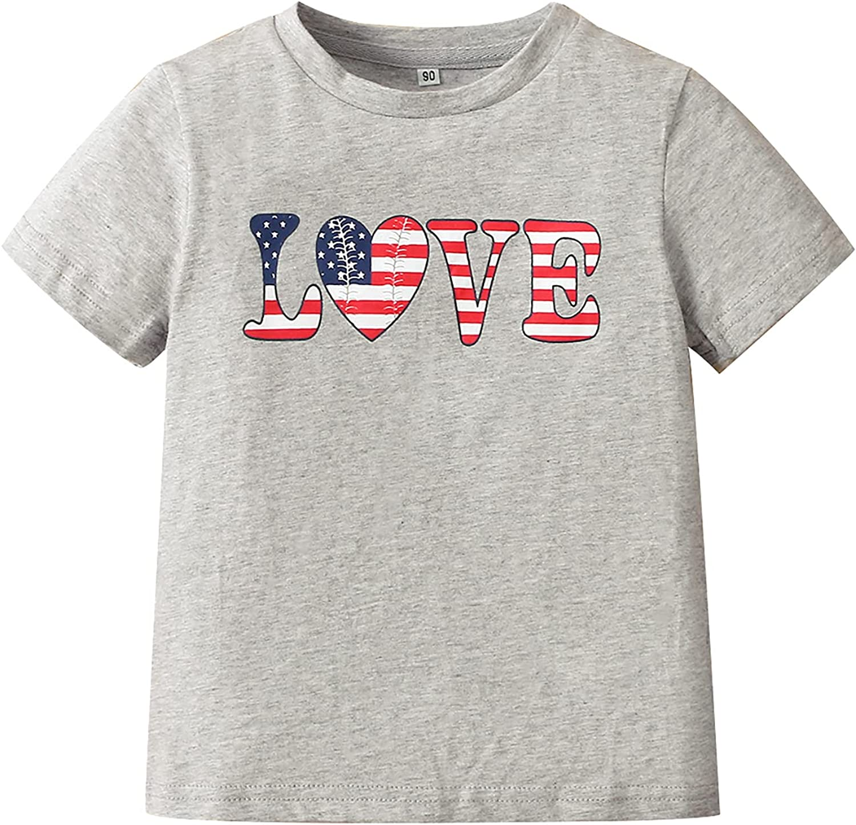 Baby Infant Toddler Boys Girls T-Shirt American Flag Love Baseball Print Design Patriotic Clothing