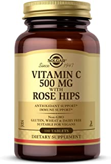 Solgar Vitamin C 500 mg with Rose Hips, 100 Tablets - Antioxidant & Immune Support - Overall Health - Supports Healthy Ski...