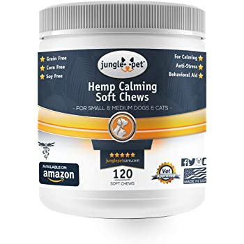 Jungle Pet Hemp Calming Soft Chews - with Chamomile - Anti Anxiety - for Thunderstorms, Fireworks, Traveling - Highly Palatable - High Energy Dogs