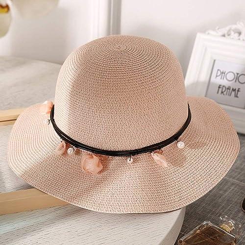 The taste of home Chapeau d'été, Corde de Vent pour Les Femmes de Chapeau de Paille l'été été Souple Disquette Pliable réglable Packable