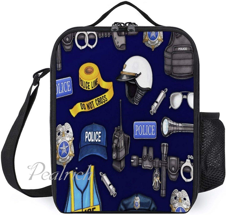 Bolsas de almuerzo aisladas para niños, con soporte para botellas, Departamento de policía, a la moda, gran fiambrera para hombres, adultos, reutilizable, para el trabajo, escuela, picnic