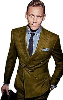 CRYYU Men Sleeveless Lapel Lapel Double-Breasted Plaid Suit Vest Jacket Coat