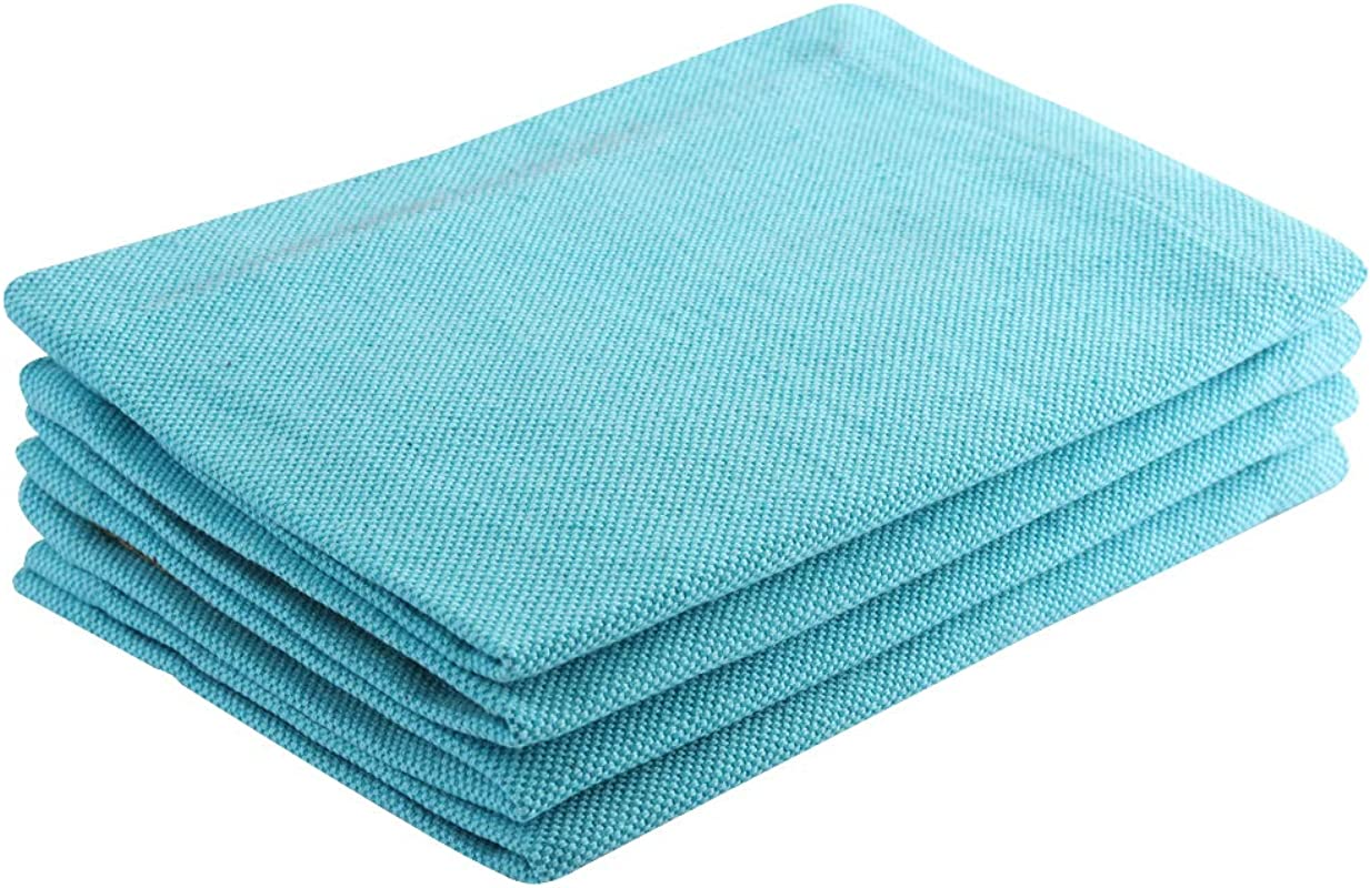 Set Of 4 Placemat Heavy Chambray 100 Cotton Eco Friendly And Safe Heat Resistant Suitable For All House Hold Ovens Turquoise Size 13 X19 Product Of Cote De Amor