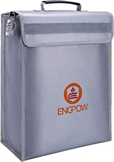 ENGPOW Large Fireproof Bag,Fireproof Lock Box Bag Document Bag Money Bag with Combination Lock Zipper Closure,Fireproof Safe and Water Resistant Storage for Documents,Money,Valuables (16