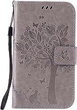 Guran® Funda de Cuero para Samsung Galaxy Grand Neo Plus/Grand Neo (i9060) Smartphone Función de Soporte con Ranura para Tarjetas Flip Case Cover-Gris