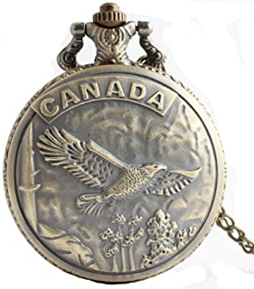 HR Creative Canada a sculpté Une Montre de Poche à Quartz Vintage en Bronze avec Une chaîne pour Hommes et Femmes
