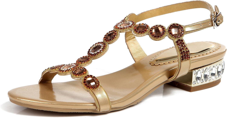 Honeystore Women's Round Rhinestones PU Leather Low Heel Party Sandals shoes