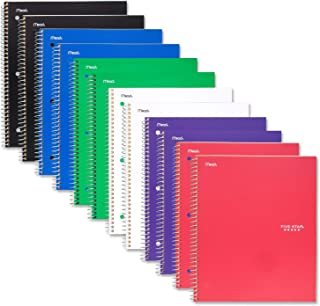 "Five Star Spiral Notebook, 1 Subject, College Ruled Paper, 100 Sheets, 11"" x 8-1/2"", Assorted Colors, 12 Pack (52164)"