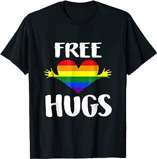Free Hugs Shirt Gay Pride Rainbow Flag LGBT Heart