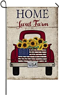 Faromily Vintage Truck with Sunflowers Garden Flag Vertical Double Sided Farm Fresh Loads of Sunshine Burlap Garden Yard L...