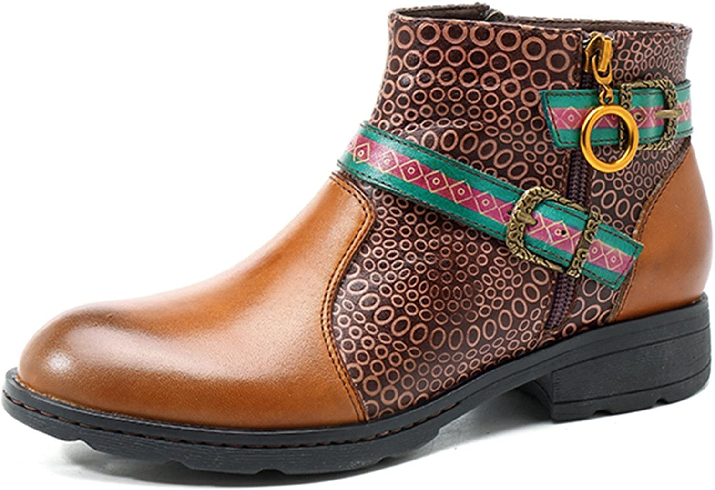 Socofy Leather Ankle Bootie, Women's Vintage Handmade Buckle Pattern 7.5 B(M) US