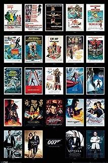 Pyramid America James Bond 007 Spy Film Movie Series Franchise 24 Movies Collage Casino Spectre Laminated Dry Erase Sign Poster 24x36