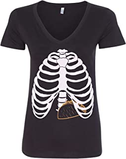 Threadrock Women's Taco Skeleton Rib Cage Halloween Costume V-Neck T-Shirt