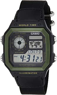 Casio Men's 'World Time' Military Look Watch [AE-1200WHB-1BV], Fabric