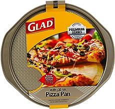 "Glad GLD-78027 PAN Premium Series BAKEWARE | Non-Stick 14-INCH Pizza Tray | Gold, 14.2"" x 13.2"" x 0.6"","
