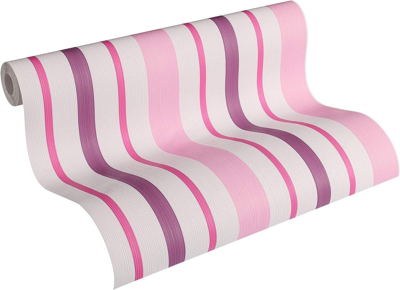 Cr/éation Boys /& Girls 5 10,05 x 0,53 m Rollo Papel pintado gofrado rayas de rayas rosa violeta//lila blanco 898319 89831-9 A.S = 5,33 m/² rosa//violeta//lila//blanco