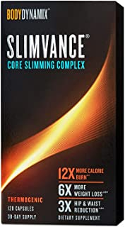 BodyDynamix Slimvance Core Slimming Complex, 120 Capsules for 30 Day Supply, Thermogenic Burns 12 Times More Calories