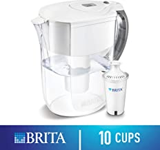 Brita Grand Water Filter Pitcher, with 1 Standard Filter, White, 10 Cup