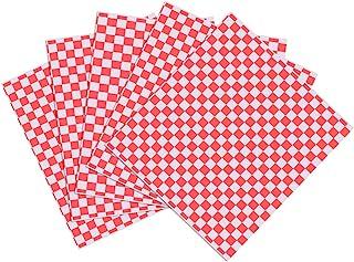 OUNONA 100 Sheets Checkered Deli Basket Liner Papel para envolver alimentos, resistente a la grasa, envoltura de hamburgue...
