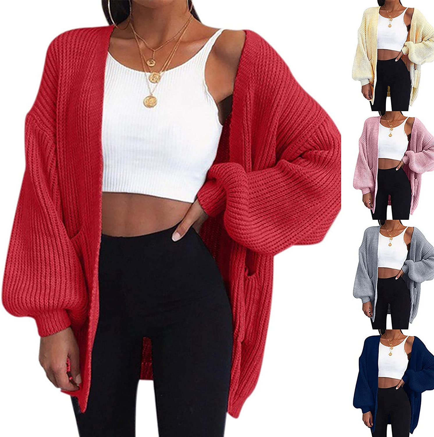 KUDICO Easy-to-use Topics on TV Women's Long Sleeve Open Sweaters Cardigan Front Solid Ov