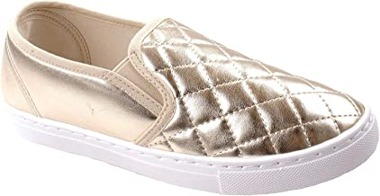 Anna Women's Slick Ligh Weight Comfort Slip On Quilted Fashion Sneakers