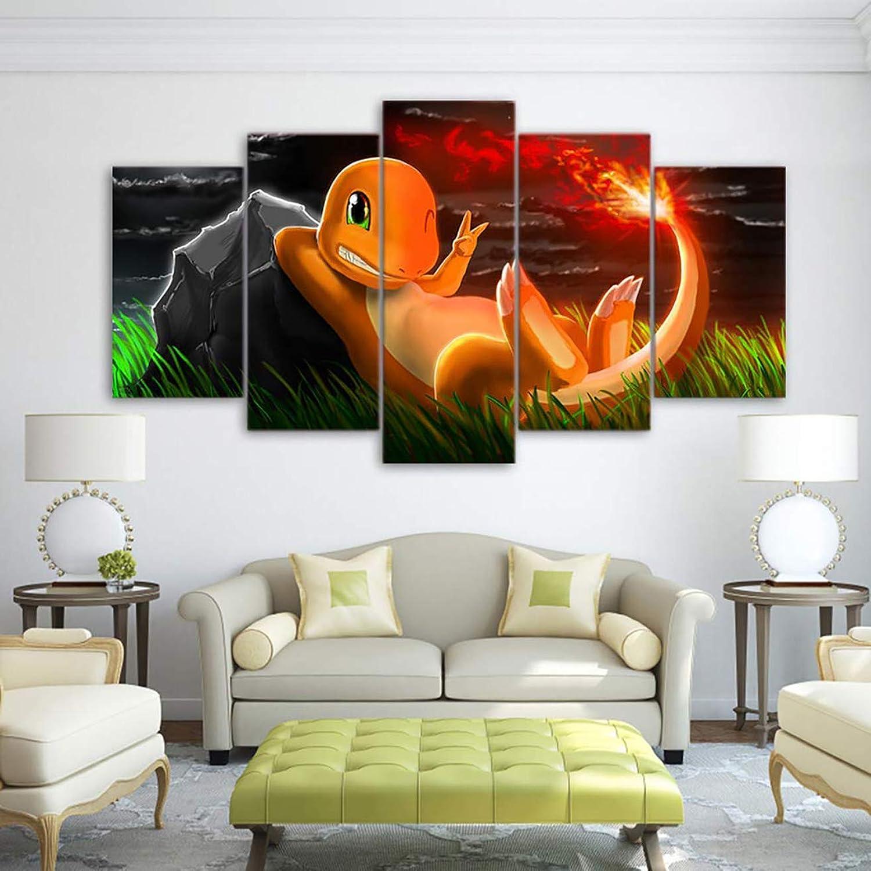 bcc3c132ba2e 5 Pieces Modern Wall Art Canvas Modular Art Pokemon Print Canvas ...