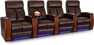 Seatcraft Seville Row of 4 Brown Leather Gel Power Recline Home Theater Seating Chairs Powered by SoundShaker