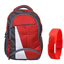 BLUTECH Canvas Red Waterproof,Laptop College School Bag For Boys with Combo of Watch