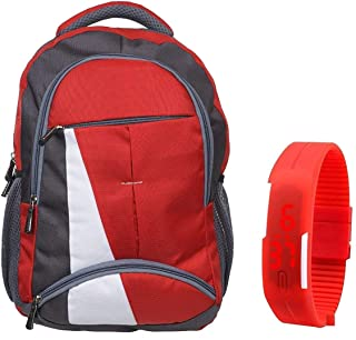 05a17b148f BLUTECH Canvas Red Waterproof School Bag & College LAPTOPfor Boys+ Free RED  LED Unisex
