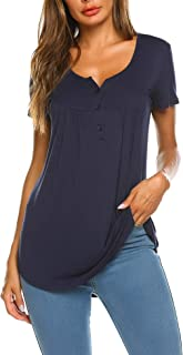 SUNAELIA Women's Shirts Short Sleeve Henley V Neck Casual Summer Button Down Tops Blouses Tunics