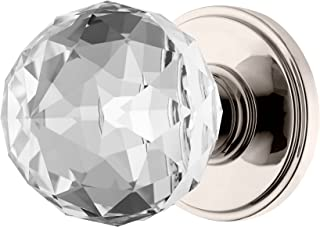 Decor Living, AMG and Enchante Accessories Faceted Crystal Door Knobs with Lock, Privacy Function for Bed and Bath, IRIS Collection, Polished Nickel