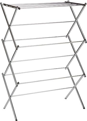 Amazonベーシック 折り畳み式物干しスタンド - クローム