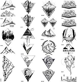 COKTAK 12 Hojas Bosque Negro De MontañA Tatuajes Temporales Para Hombres NiñOs Mujeres TriáNgulo Marino Mar Ola Cuerpo Arte Brazo Piernas De Agua Falso Tatuaje Bosque Niños Tatuajes Adulto Papel