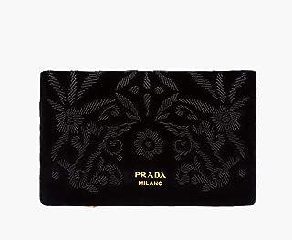 a1f527eb1995 Prada Busta Morbida Black Velvet Floral Print Pouch Clutch Bag Wallet 1MS003