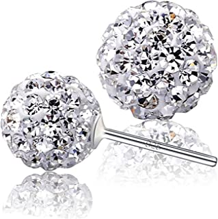 Woman Disco Ball White Crystals from Swarovski Stud Dangle Hook Earrings Pendant Necklace Set for Women and Girls