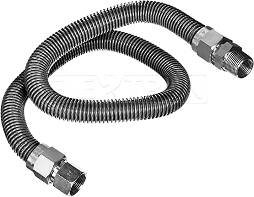 popular Highcraft lowest GUHD-TT14-72K Gas Line Hose 3/8'' O.D. x 72'' Length with new arrival 0.38 in. FIP x 1/2 in. MIP Fitting, Uncoated Stainless Steel Flexible Connector, 72 Inch online