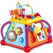 JOYIN Baby Toddler Activity Center Musical Activity Cube Play Learning Center Toy 15 in 1 Interactive Educational Activity Pyramid Multi-Functions with Lights Sounds