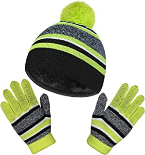 Winter Gloves and Beanie Warm Sets Hats for Boys and Girls Green