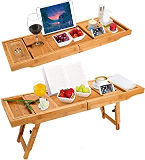 BRITOR Bamboo Bathtub Tray & Bed Laptop Desk with Foldable Legs,Extending Sides Built in Book Tablet Integrated Wineglass ...