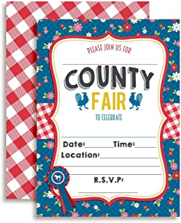 Amanda Creation County Fair with a Roosters Birthday Party Fill in Invitations Set of 20 with envelopes. Perfect for Summer Parties, Graduation, Family reunions, barbeques and More