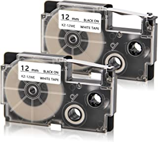 Compatible XR-12WE XR-12WE2S Label Tape Suit for Casio KL-60 KL-60SR KL-170 KL-100 KL-120 KL-750 KL-780 KL-7200 KL7000 KL-7400 KL-8100 EZ-Label Printer (1/2