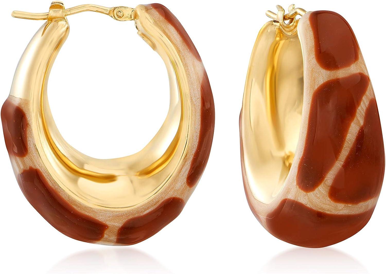 Super-cheap Max 73% OFF Ross-Simons Italian Giraffe Enamel Hoop Gold in Ov Earrings 18kt