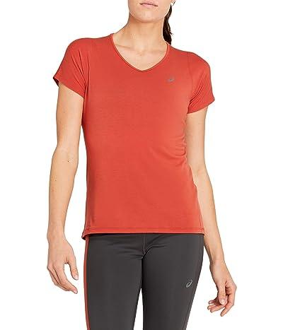 ASICS V-Neck Short Sleeve Top (Spice Latte) Women