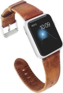 KADES Compatible Apple Watch Band Genuine Leather Replacement Strap Retro Crazy Horse Texture Compatible Apple Watch Series 4 40mm & Series 3/2/1 38mm, Brown