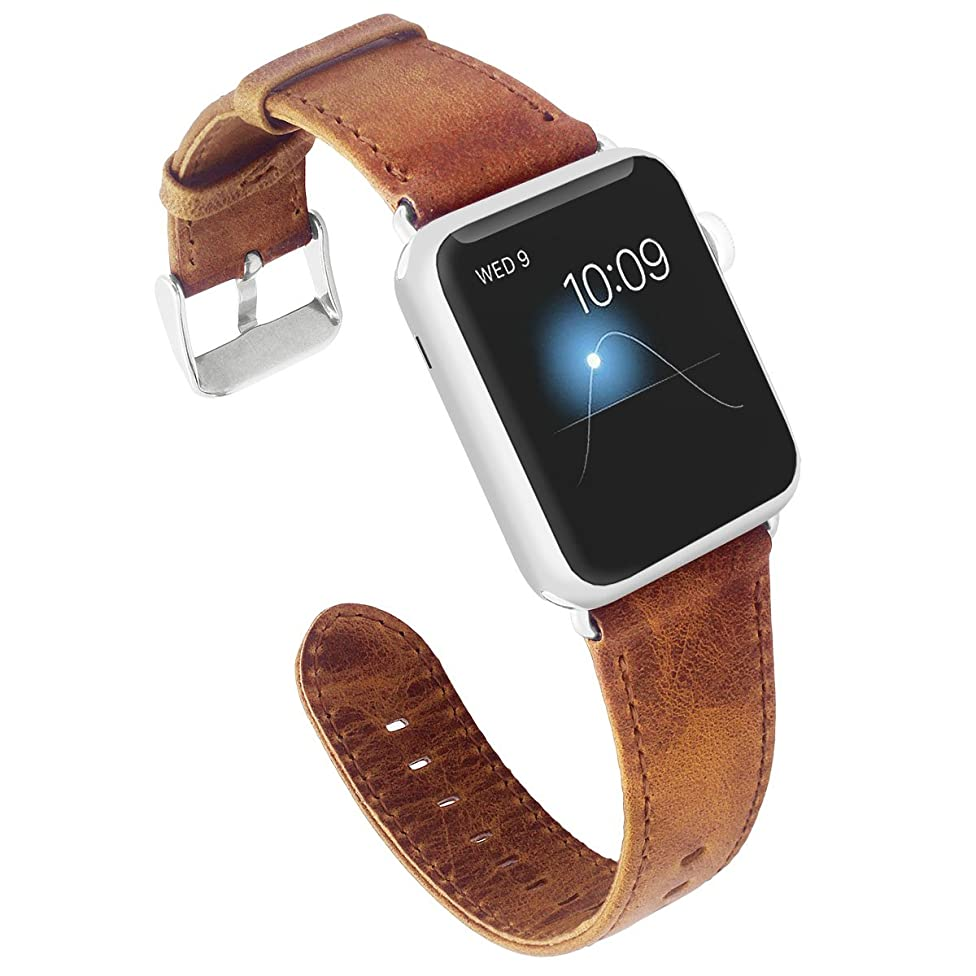 KADES for Apple Watch Band 38mm, Leather for Apple Watch Band 40mm Series 4 iWatch Bands 38mm (Brown with Silver Hardware)