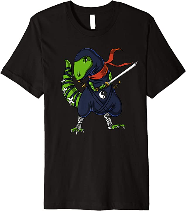 Dinosaur T-Rex Ninja With Samurai Sword Funny Martial Arts Premium T-Shirt